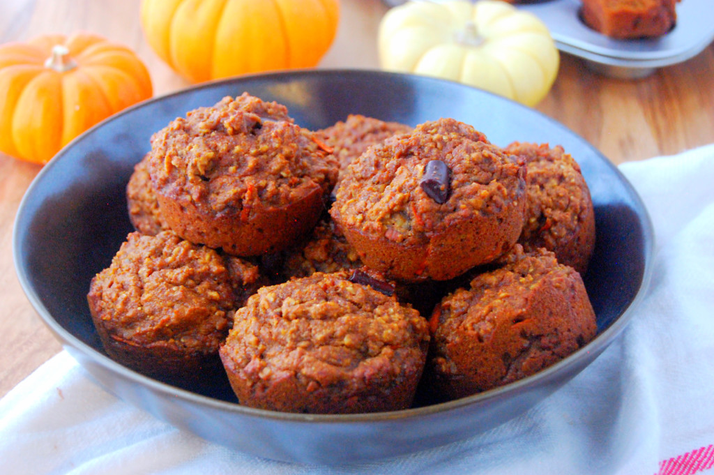 Whole Wheat Pumpkin Carrot Muffins - easy to make and freeze for wholesome breakfasts and snacks! | uprootfromoregon.com