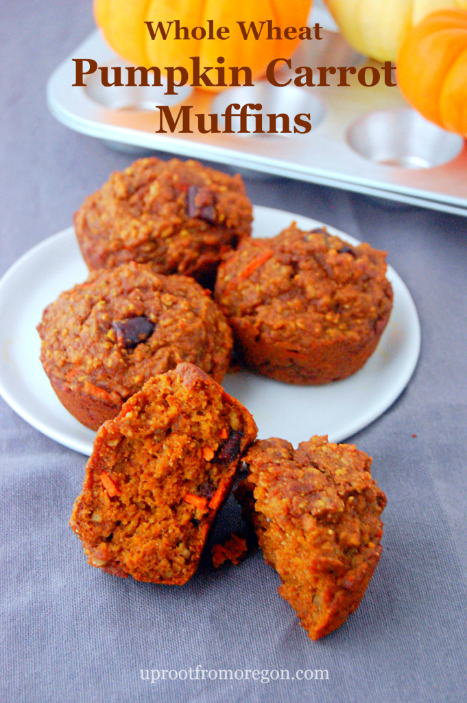 Whole Wheat Pumpkin Carrot Muffins, packed with your favorite mix-ins | uprootfromoregon.com