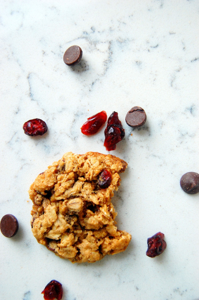 Simple Oatmeal Cranberry Pecan Cookies, packed with chocolate chips.