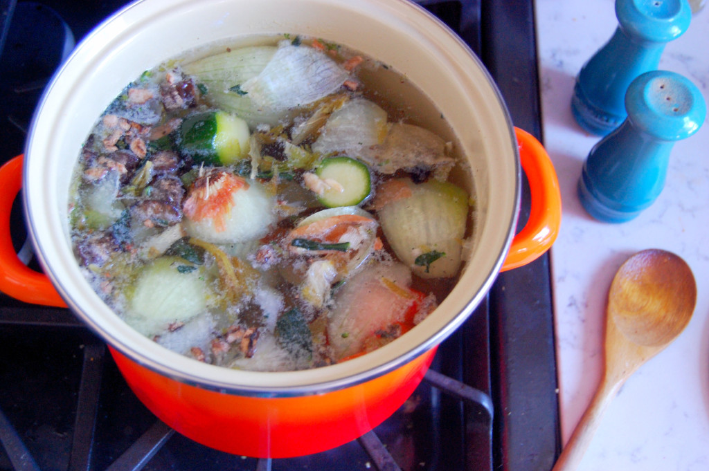 How To Make Chicken Stock from Leftover Scraps | uprootfromoregon.com