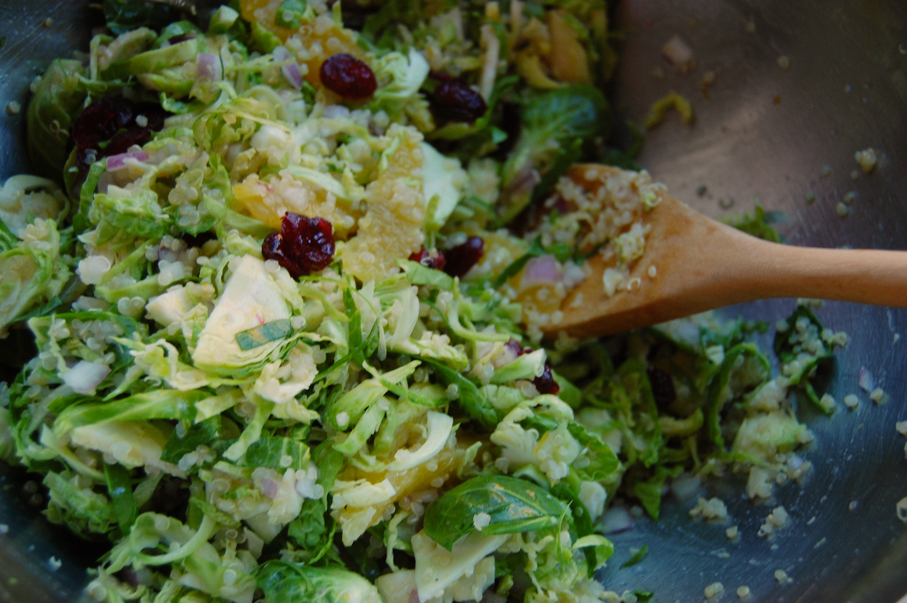 Thanksgiving Brussel Sprout Salad with Quinoa, Orange, Cranberry