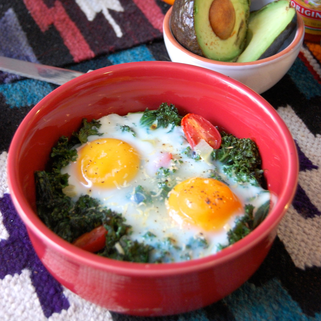 Kale Baked Eggs with Avocado