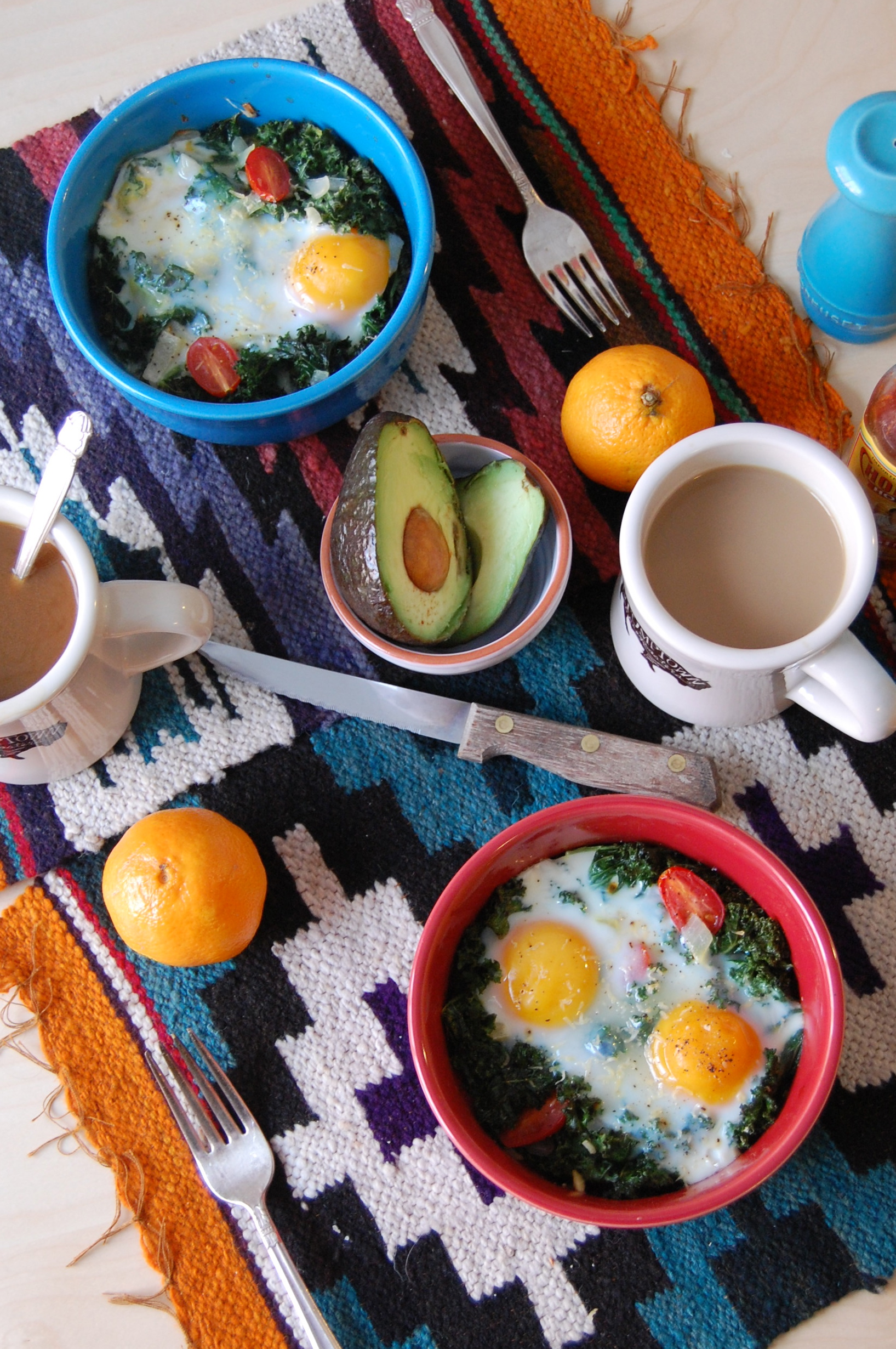 Easy Kale Baked Eggs with Sliced Avocado (multiply for a brunch crowd!)