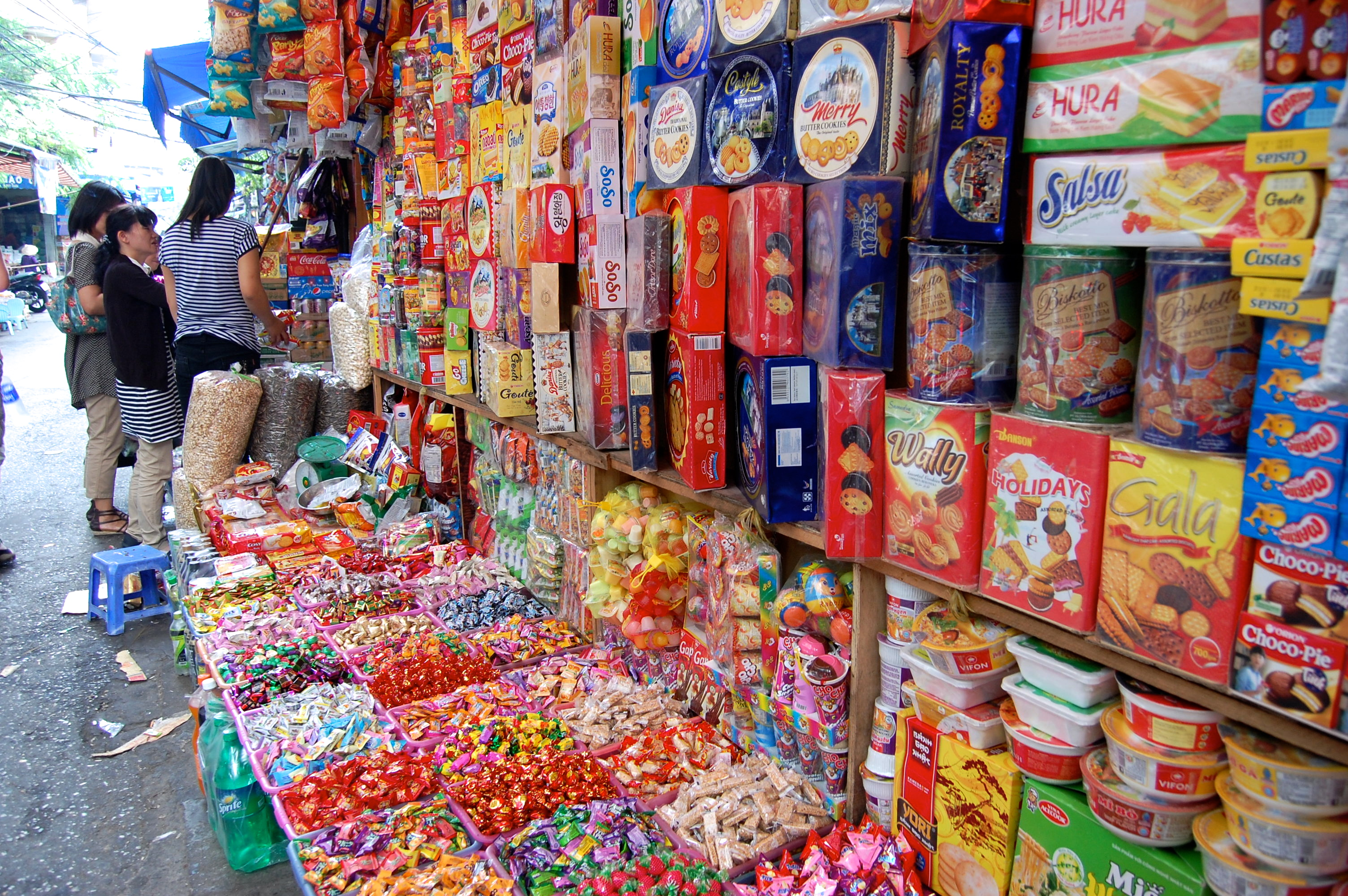Street Stall with Processed Foods in Hanoi, Vietnam