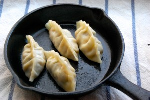 pan frying chinese vegetable gyoza