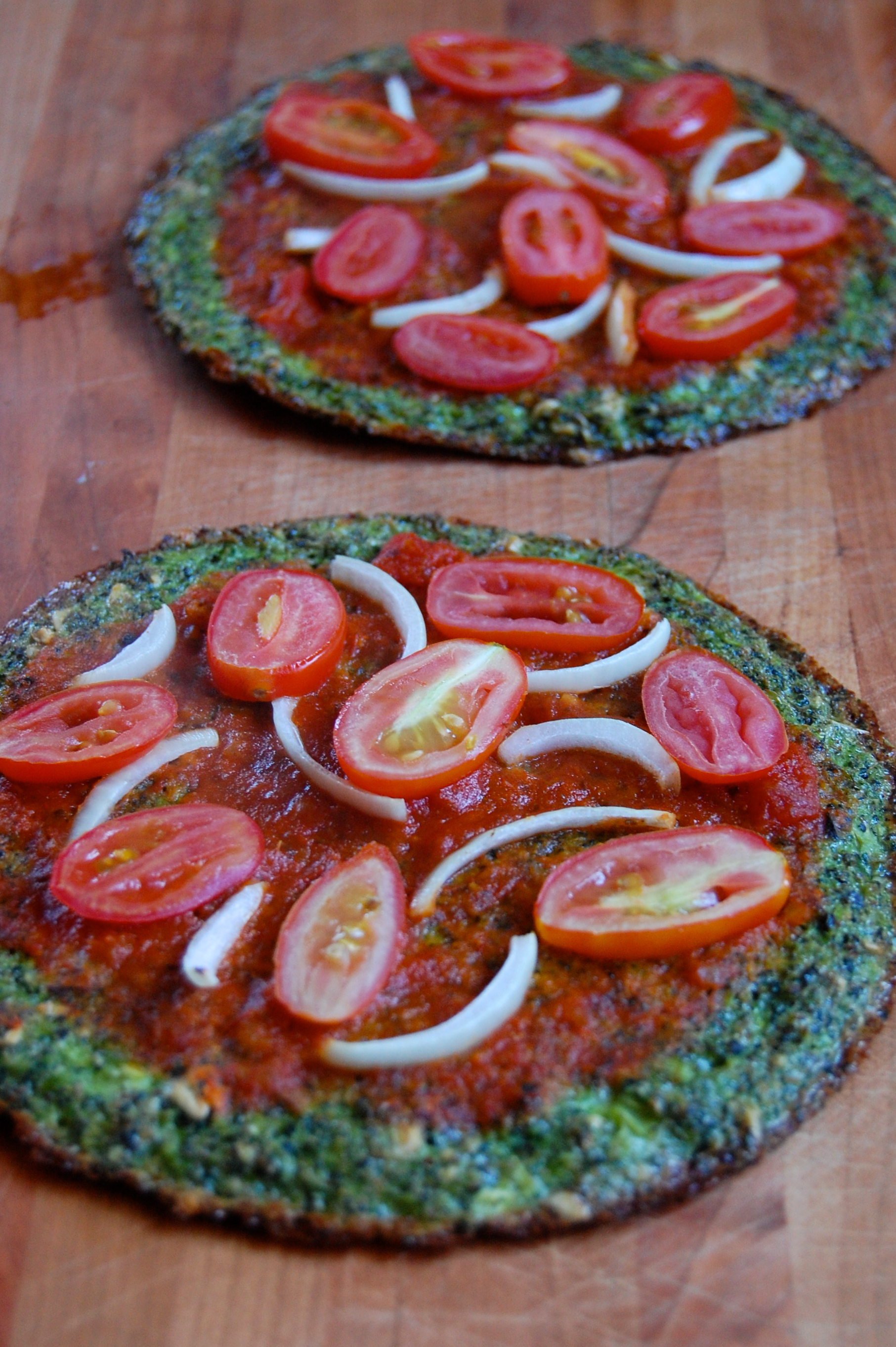 Veggie Pizza on a Broccoli Pizza Crust | uprootkitchen.com