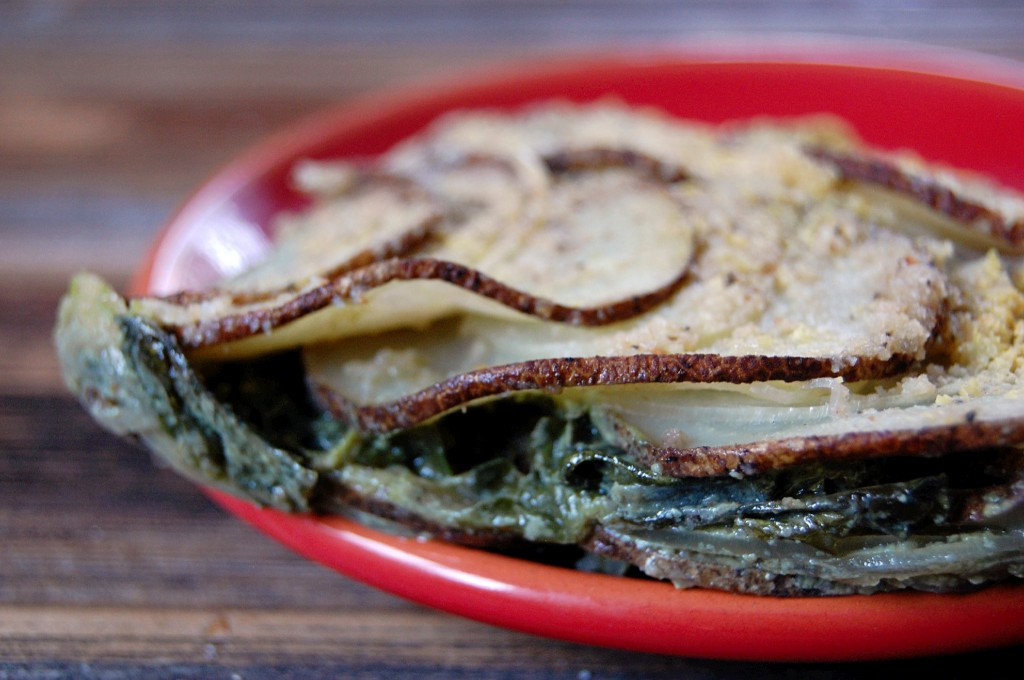 Potato and Greens Layered Gratin with soy milk and nutritional yeast (dairy-free, vegan)