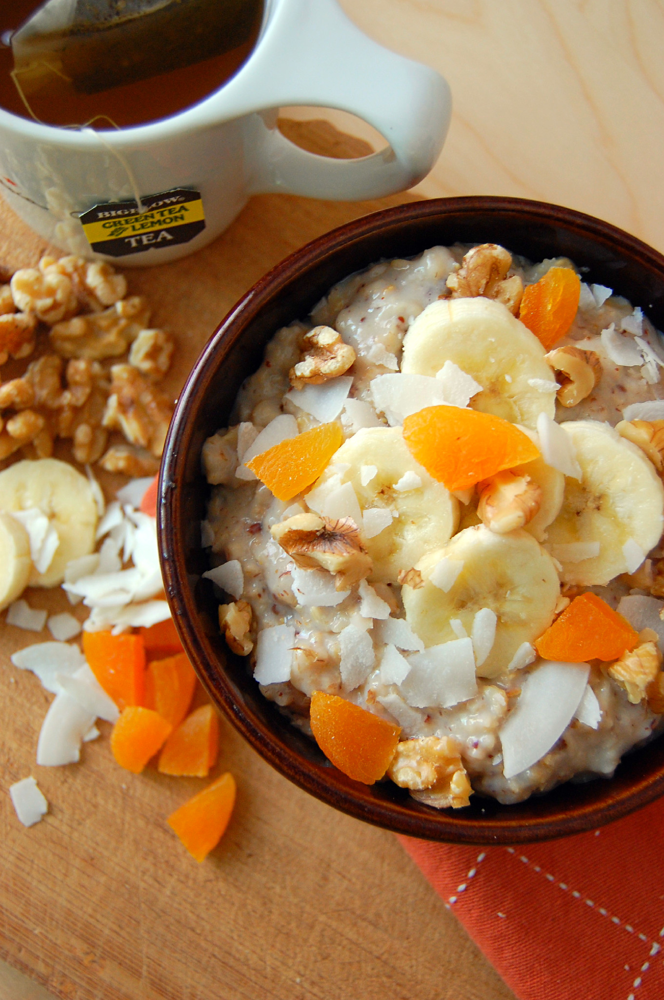 Creamy Green Tea Oatmeal loaded with healthy add-ins