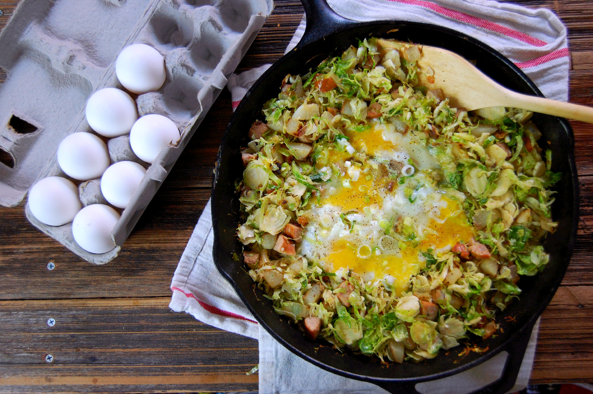 Brussel Sprout Potato Amp Chicken Sausage Hash
