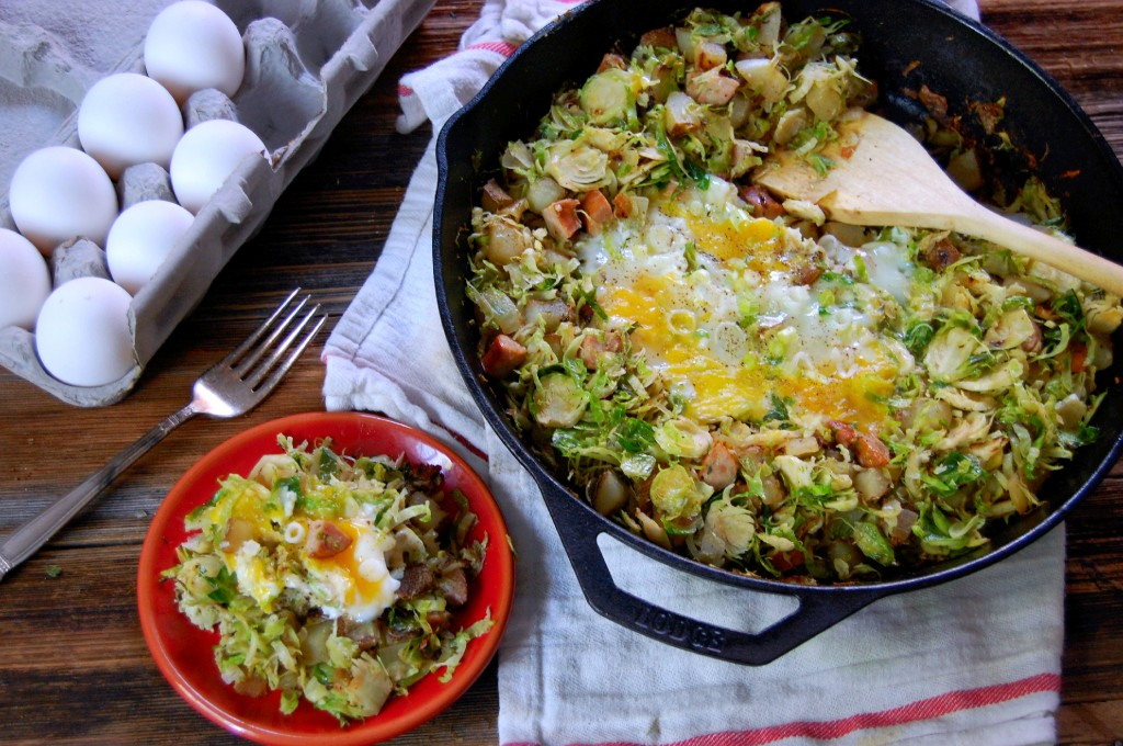 Brussel Sprout Hash with Egg- an easy one pan breakfast for a crowd