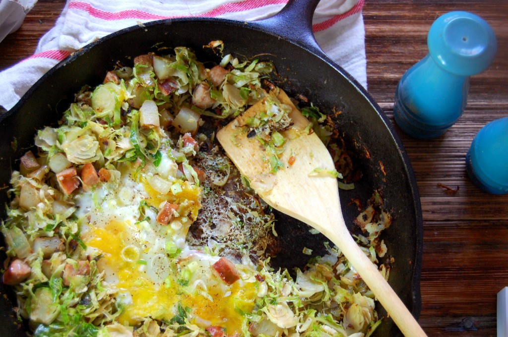 Brussel Sprout, Potato, and Chicken Sausage Skillet