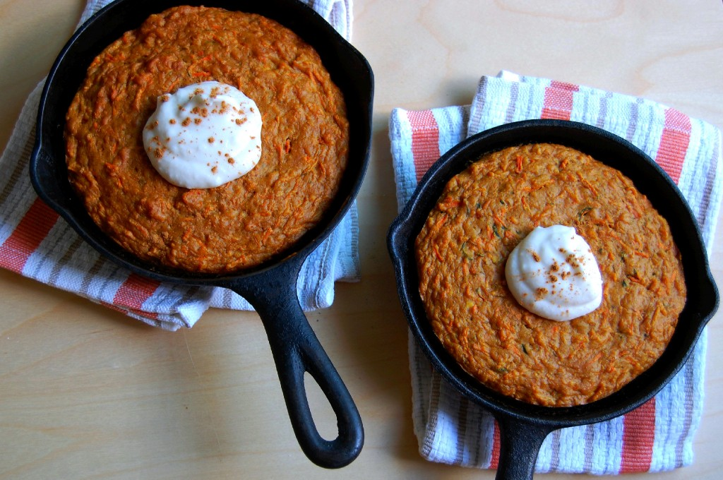 Carrot Cake in a Mini Cast Iron Pan with Maple Coconut Cream