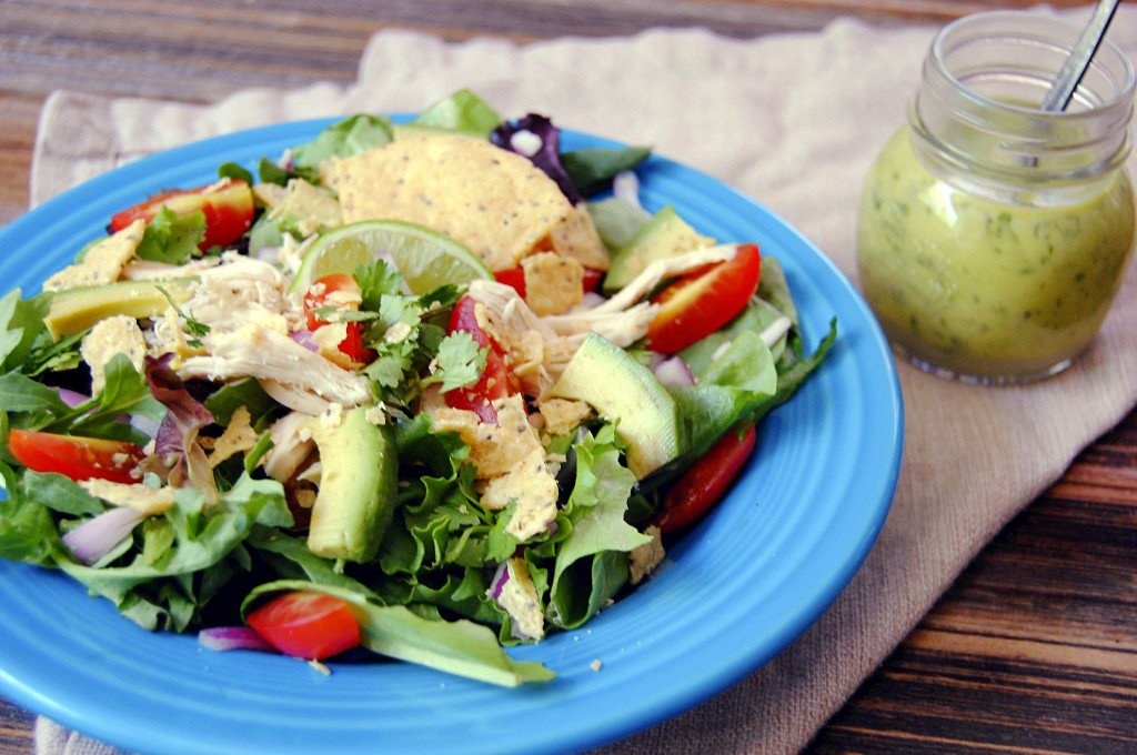 Chicken Guacamole Greens Salad with Lime Cilantro Vinaigrette
