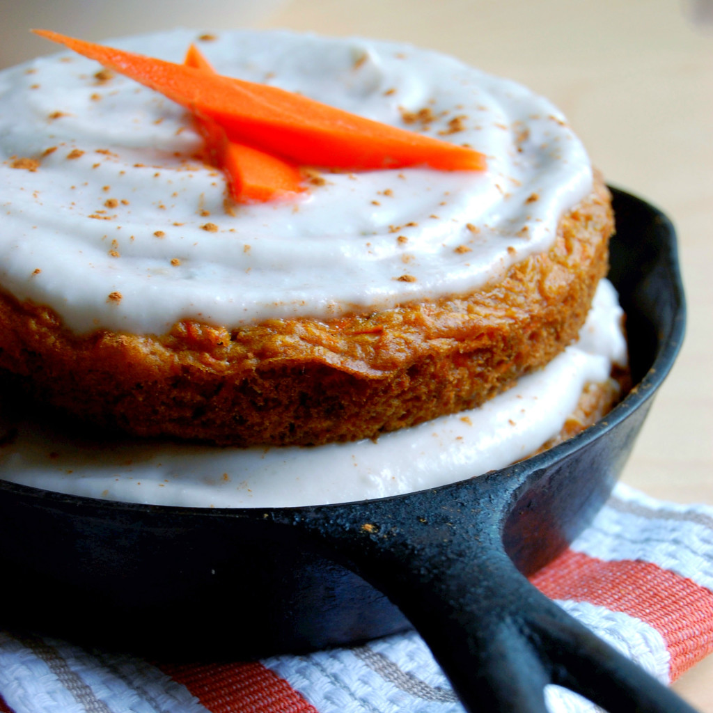Layered Skillet Carrot Cake with Coconut Cream Icing (vegan)