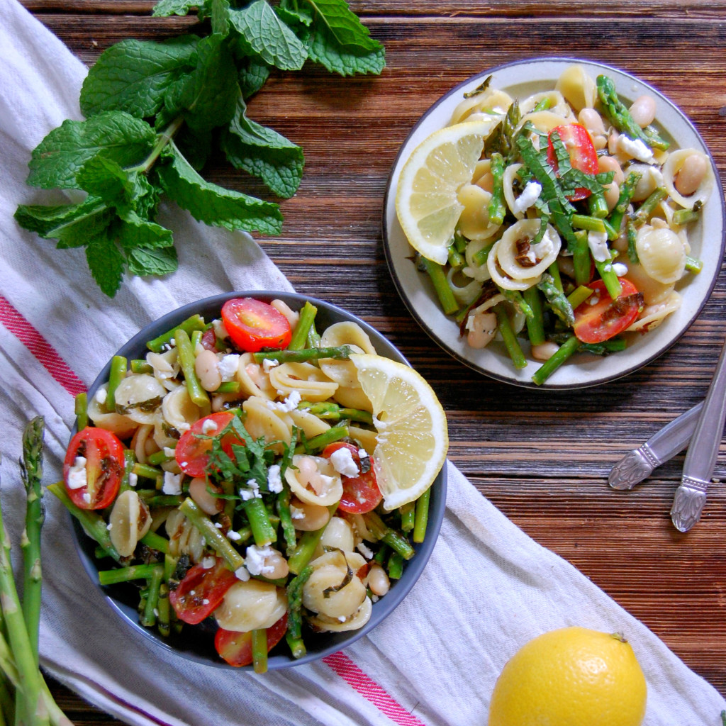 Lemon, Mint, Asparagus and Feta Pasta