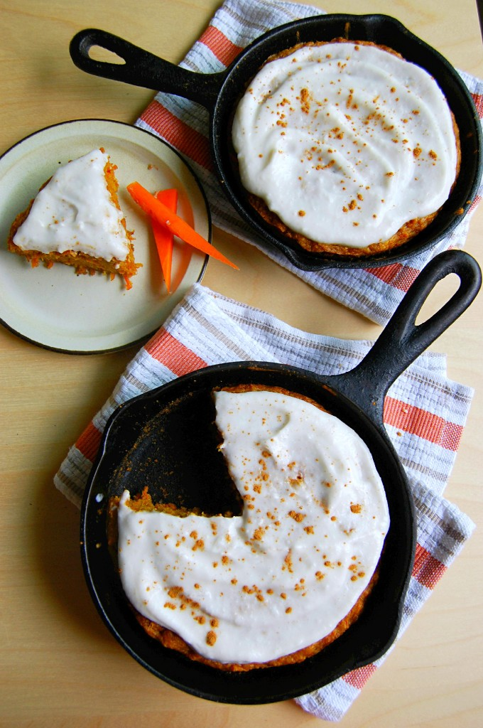 Mini Skillet Carrot Cake with Coconut Cream Icing (vegan)