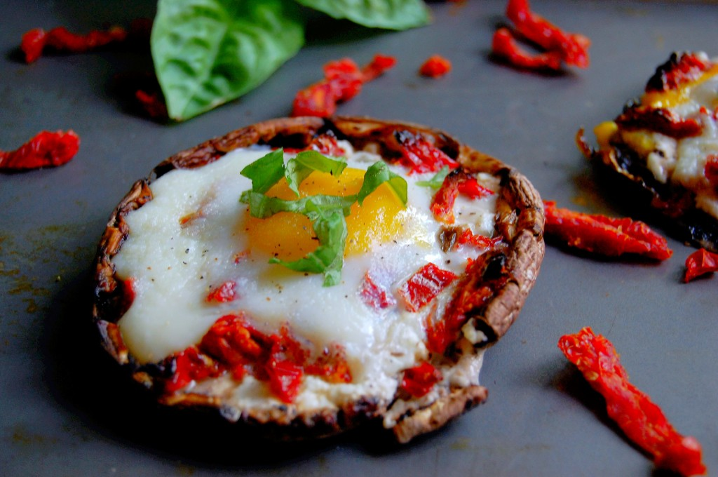 Portobello Baked Egg with Sundried Tomato and Goat Cheese Filling