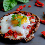 Portobello Baked Eggs with Sundried Tomatoes & Goat Cheese