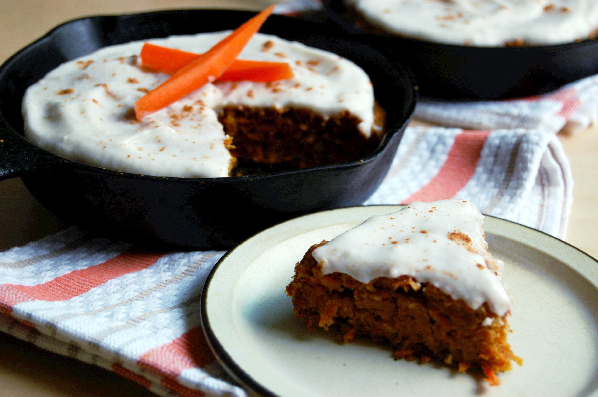 Vegan Skillet Carrot Cake with Coconut Cream Icing | UprootKitchen.com