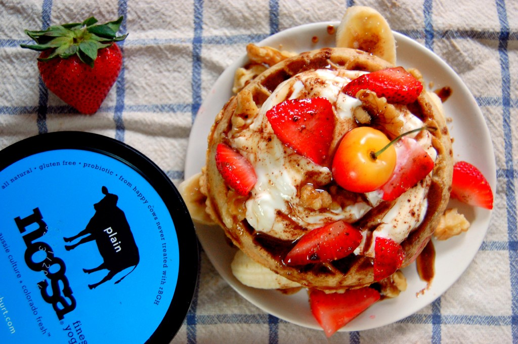 Waffle Banana Splits with Cocoa Maple Sauce and Yogurt
