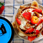 Breakfast Waffle Sundaes with Plain Yogurt, Fresh Fruit & Cocoa Maple Syrup