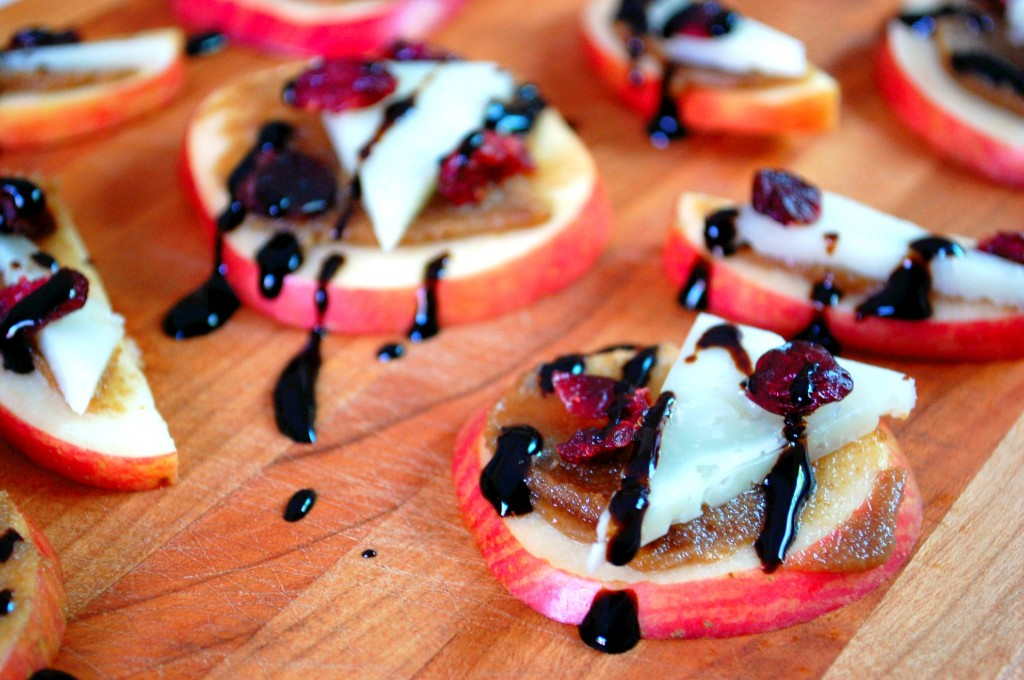 Apple Manchego Bites with Walnut Butter and Dried Cranberries