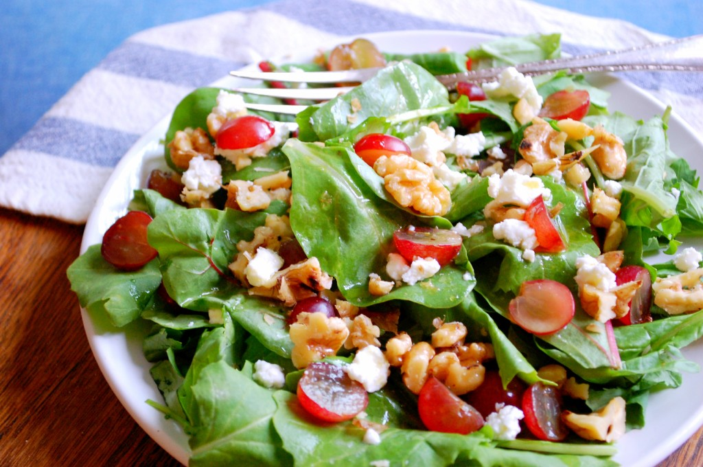 Grape, Walnut, and Goat Cheese Salad with Peach White Balsamic Dressing