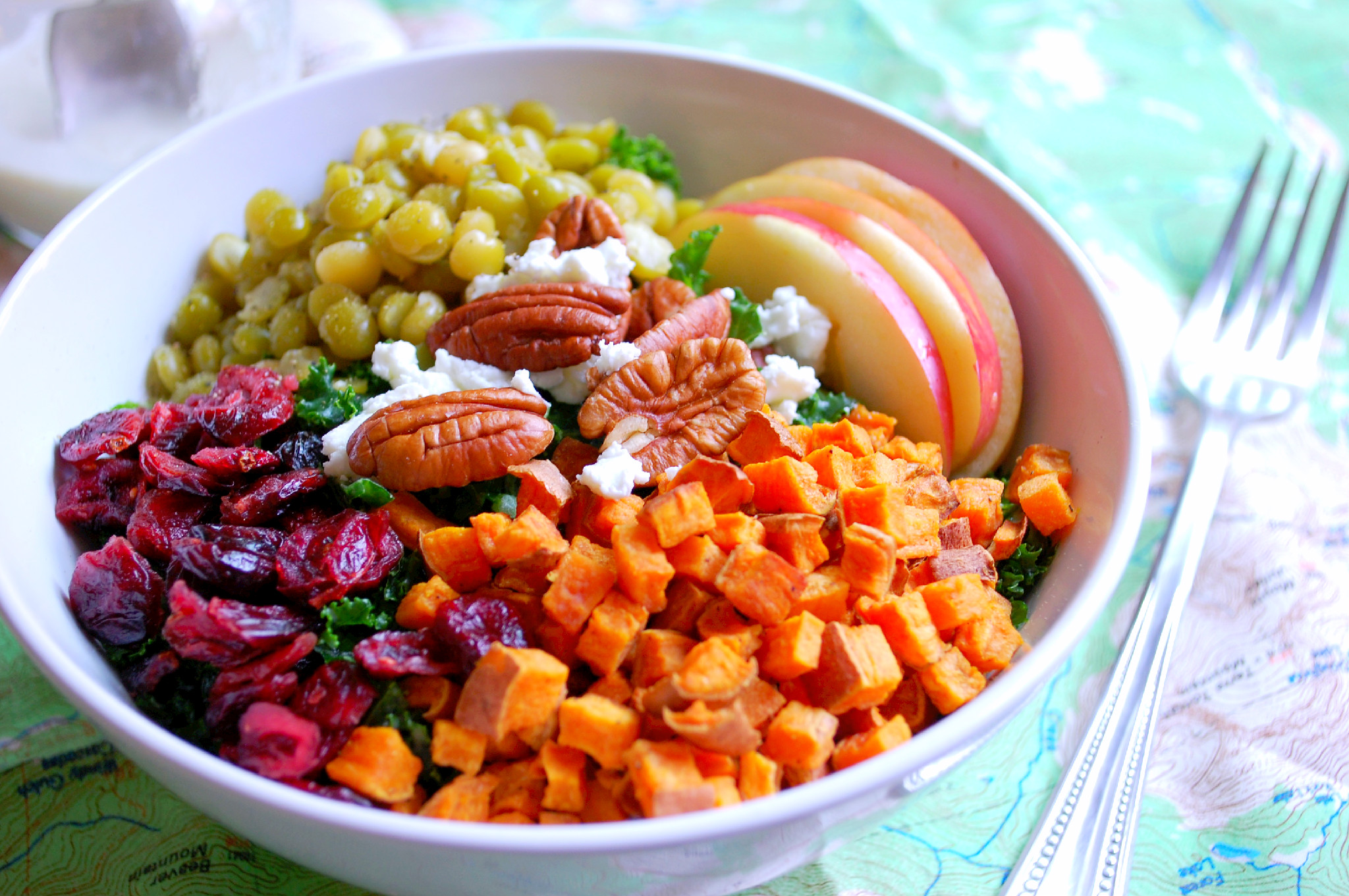 Fall Harvest Kale Salad With Tahini Dressing