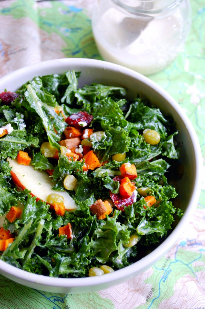 Fall Harvest Kale Salad with a Creamy Tahini Dressing