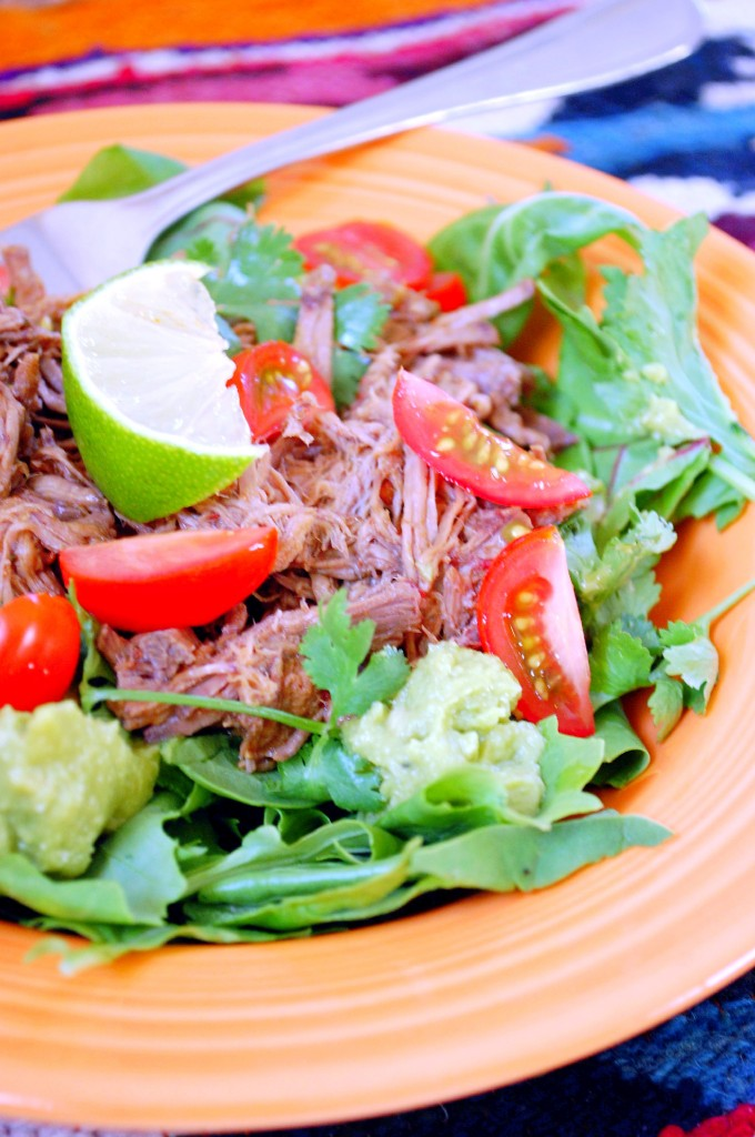 Slow Cooker Shredded Beef Barbacoa Salad
