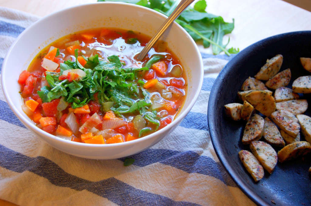 A filling and healthy Spicy Arugula and Chicken Soup