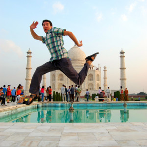 Jumping Photo at the Taj Mahal