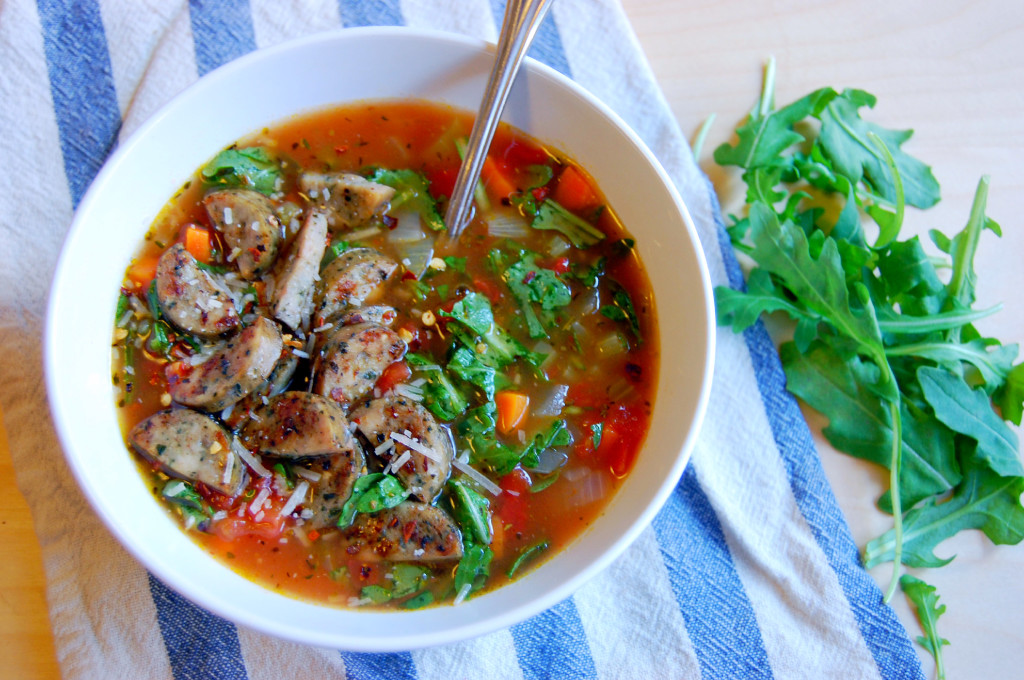Spicy Arugula and Chicken Sausage Soup with parmesan and red pepper flakes
