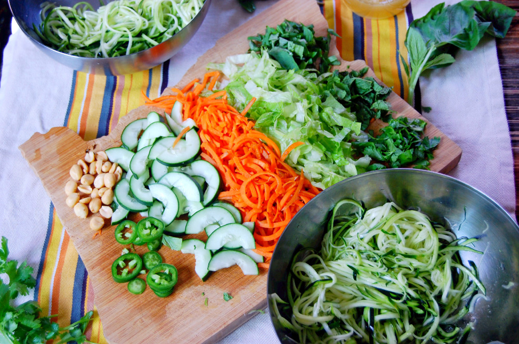 Array of Veggies for Vietnamese Zucchini Noodle Salad
