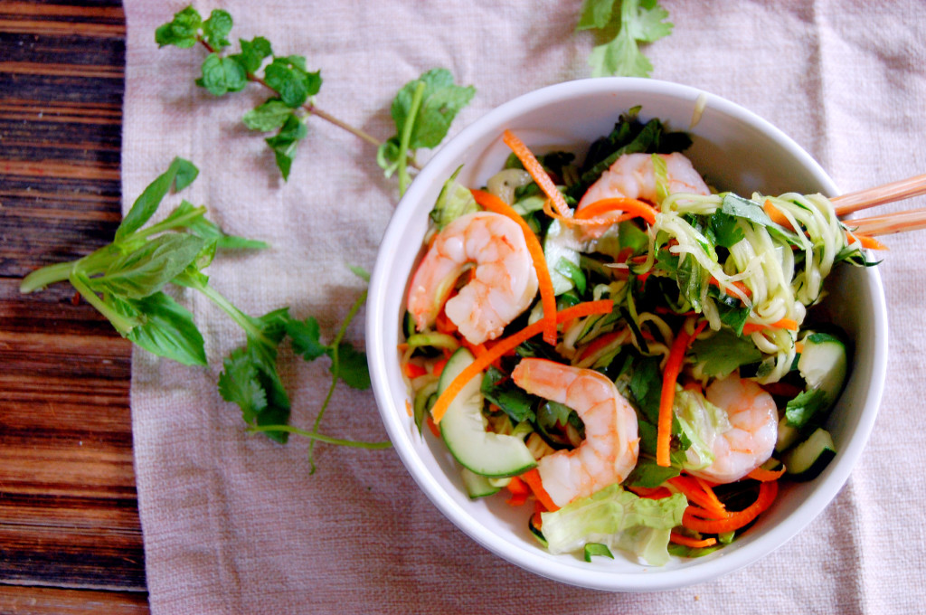 Vietnamese Noodle Bowl made with zoodles (zucchini noodles) and shrimp