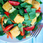 Crisp Tossed Salad with Polenta Squares & Lime Agave Dressing