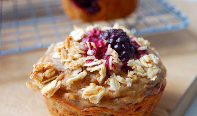 Greek Yogurt Marion Blackberry Muffins with Honey Oat Streusel