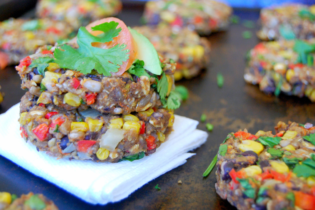 Large Batch of Green Chile Black Bean Burgers, perfect to freeze for meal prep | Uproot from Oregon