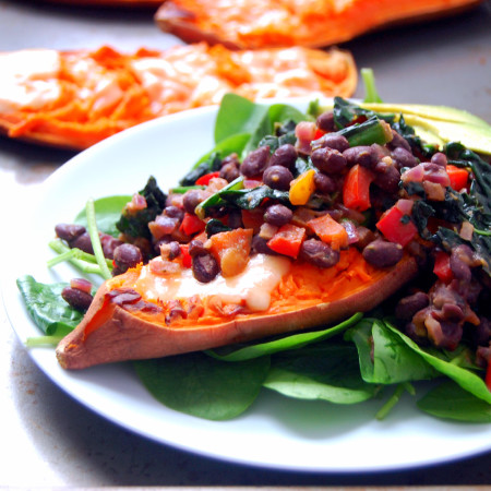 Smashed Sweet Potatoes with Kale and Black Beans - a quick weeknight dinner for 4! | Uproot from Oregon