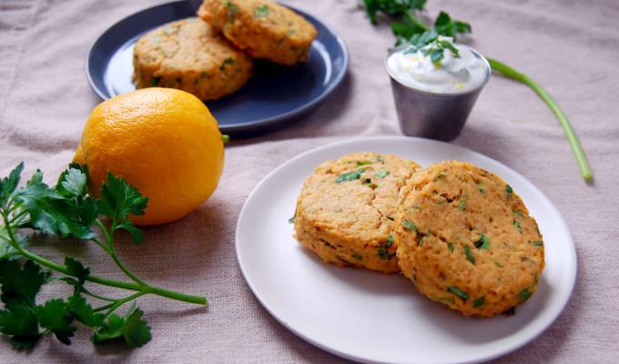 Baked Salmon Cakes with Lemon Parsley Yogurt Sauce