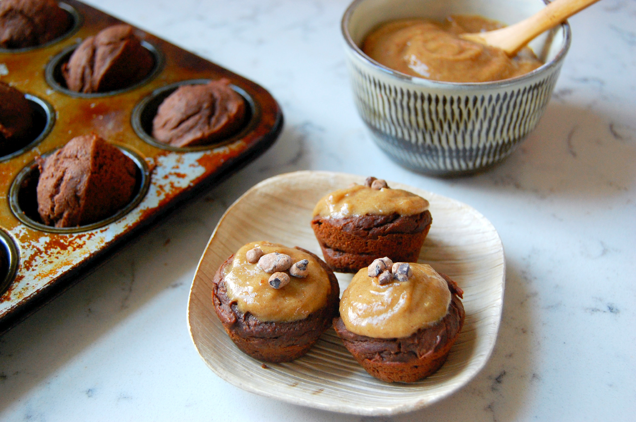 Mini Black Bean Cupcakes with Salted Date Caramel