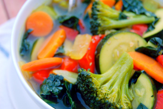 Healthful Vegetable Soup with super spices like cumin, tumeric, and garlic #vegan | Uproot from Oregon