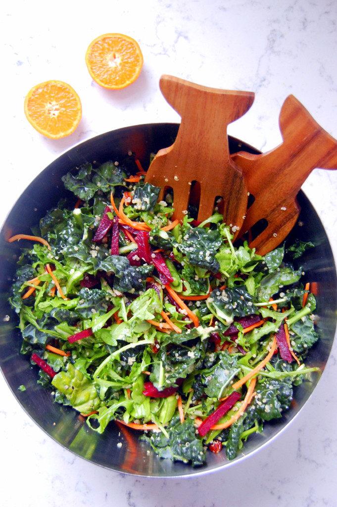 Supergreen Kale Salad with Orange Agave Vinaigrette | uprootfromoregon.com