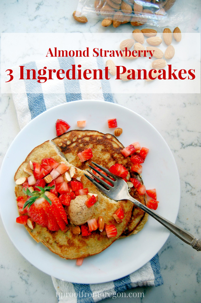 Almond Strawberry 3 Ingredient Pancakes - a protein-packed, gluten-free breakfast option! - uprootfromoregon.com