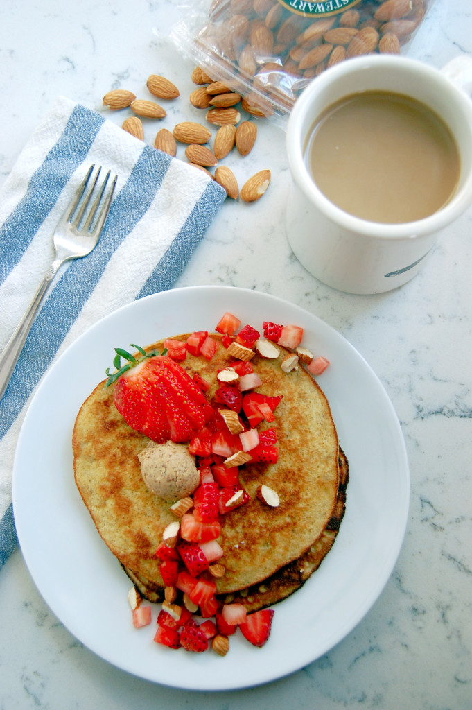 Almond Strawberry 3 Ingredient Pancakes #glutenfree - uprootfromoregon.com