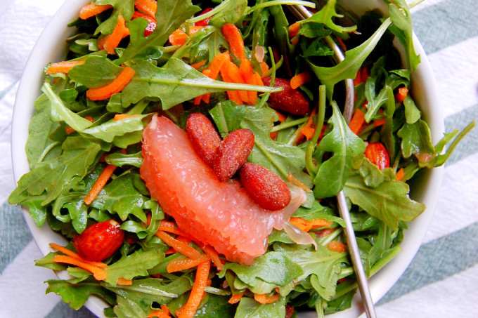 Arugula Salad with Carrots, Grapefruit, and Almonds #ad | Uproot from Oregon