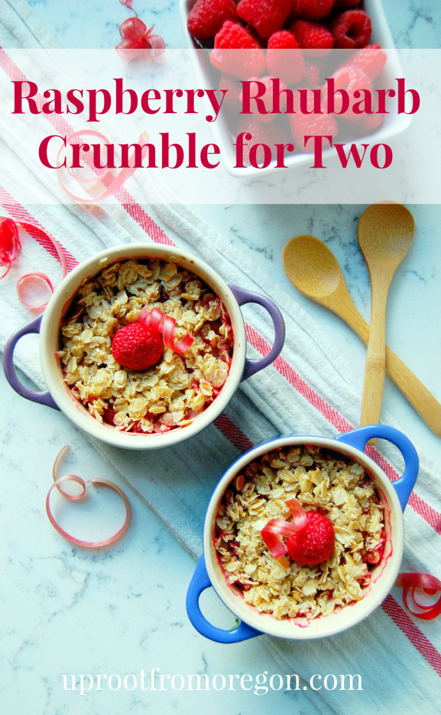 Raspberry Rhubarb Crumble for Two #gf #vegan | uprootfromoregon.com