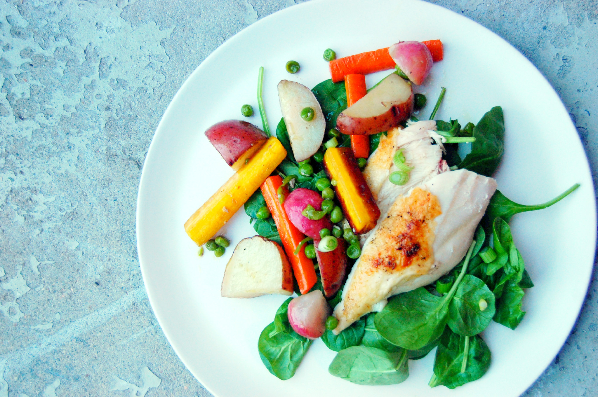 Simple Roasted Chicken with Spring Vegetables - Uproot from Oregon