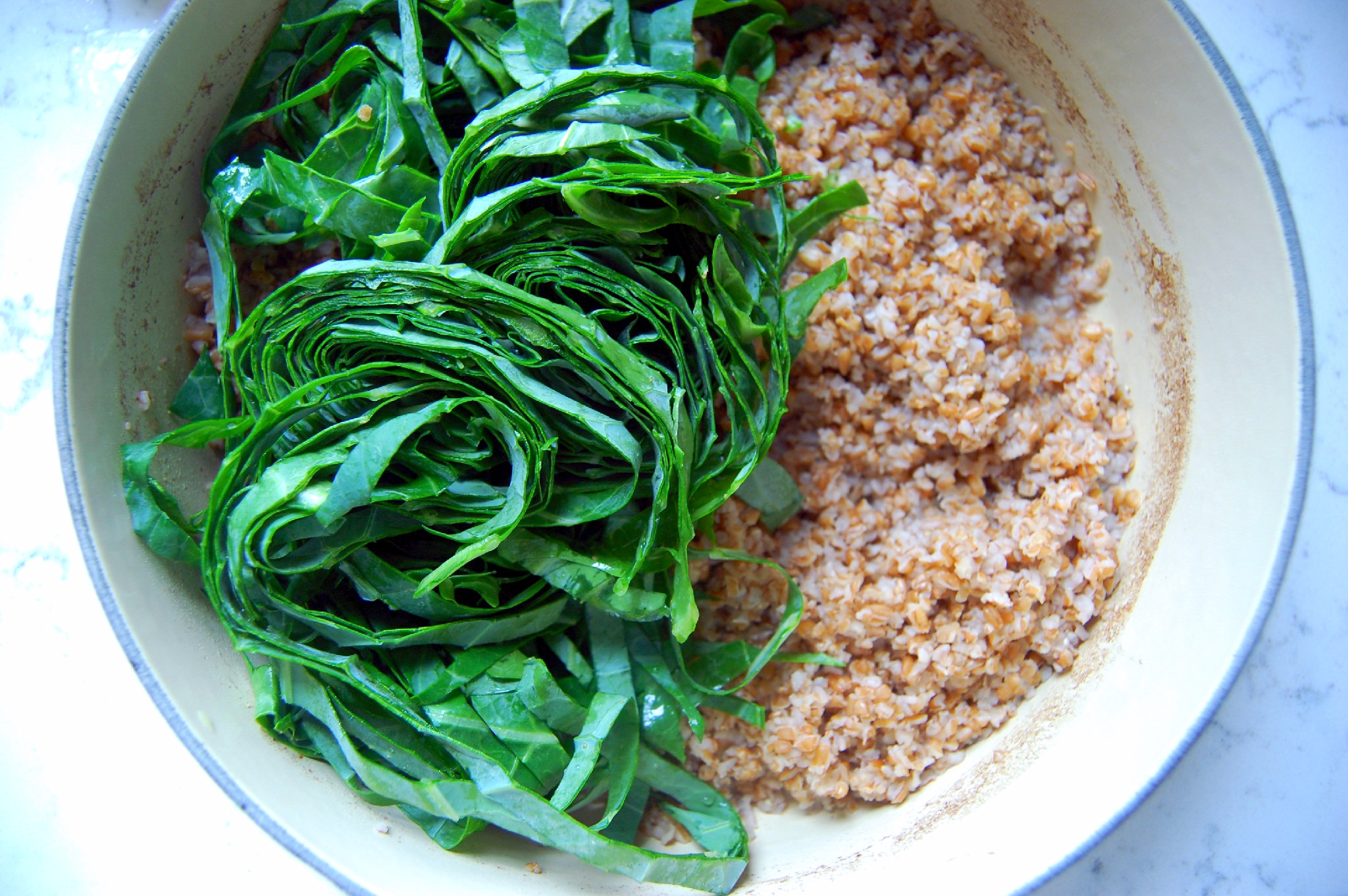 How to make bulgur wheat flavored with lemon with collard greens stirred in! | uprootkitchen.com