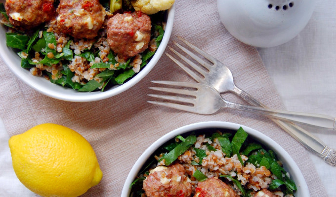 Roasted Vegetable Bulgur Bowl with Lamb Meatballs